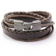 Leren Wikkel armband, vintage look