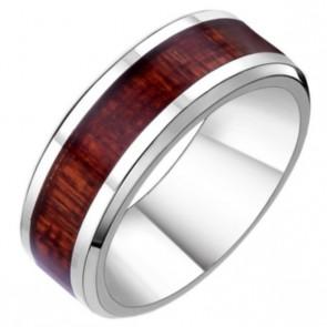 RVS edelstalen ring met hout